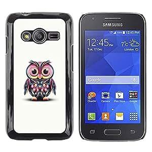 Be Good Phone Accessory // Dura Cáscara cubierta Protectora Caso Carcasa Funda de Protección para Samsung Galaxy Ace 4 G313 SM-G313F // Pink Owl Art Colorful Cartoon Character