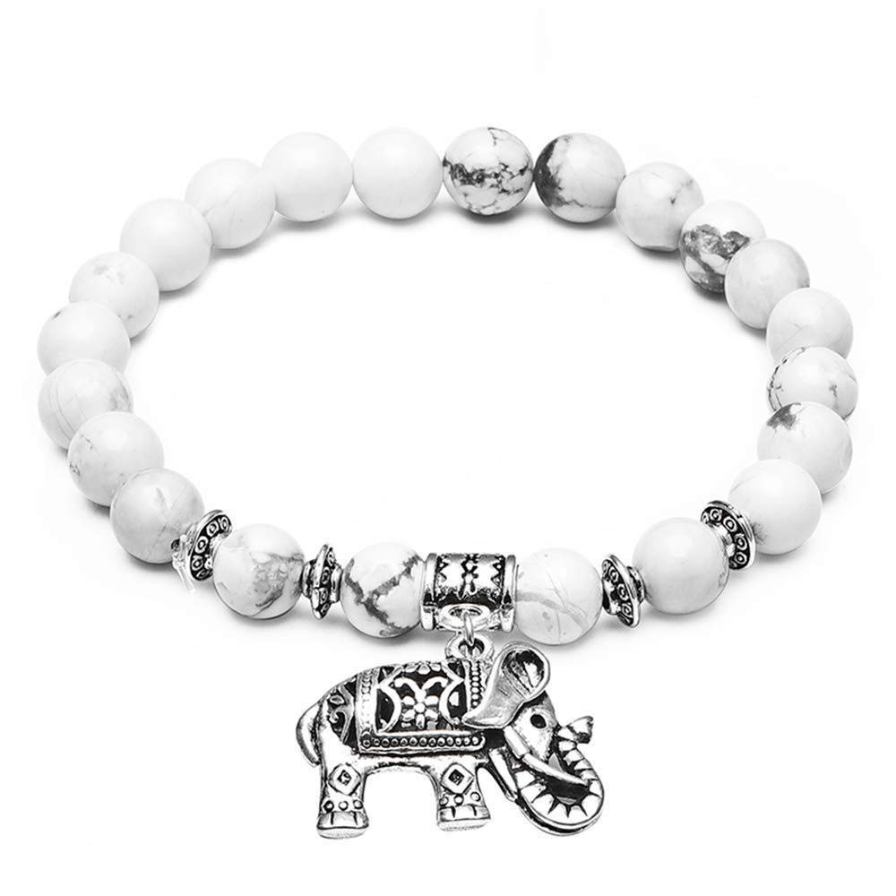 Oldlila White Turquoise 6MM Beads Tibet Silver Charm Elephant Pendant Elastic Bracelet for Women men