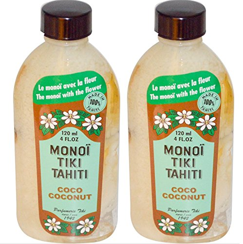 Monoi Tiki Tahiti Naturel Coconut Oil (Pack of 2), Scented With Fresh Handpicked Tiare Flowers, 100% Made in Tahiti, 4 fl. oz.