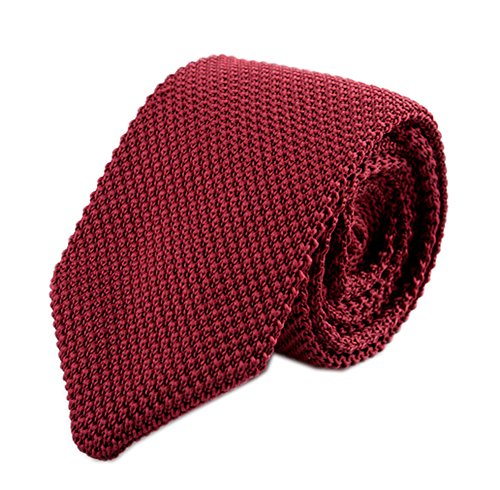 Secdtie Men Classic Wine Red Textured Knit Woven Silk Tie Smart Necktie 012-Cherry Red