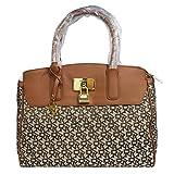 DKNY Saffiano Leather Satchel Handbag (Chino-Walnut)