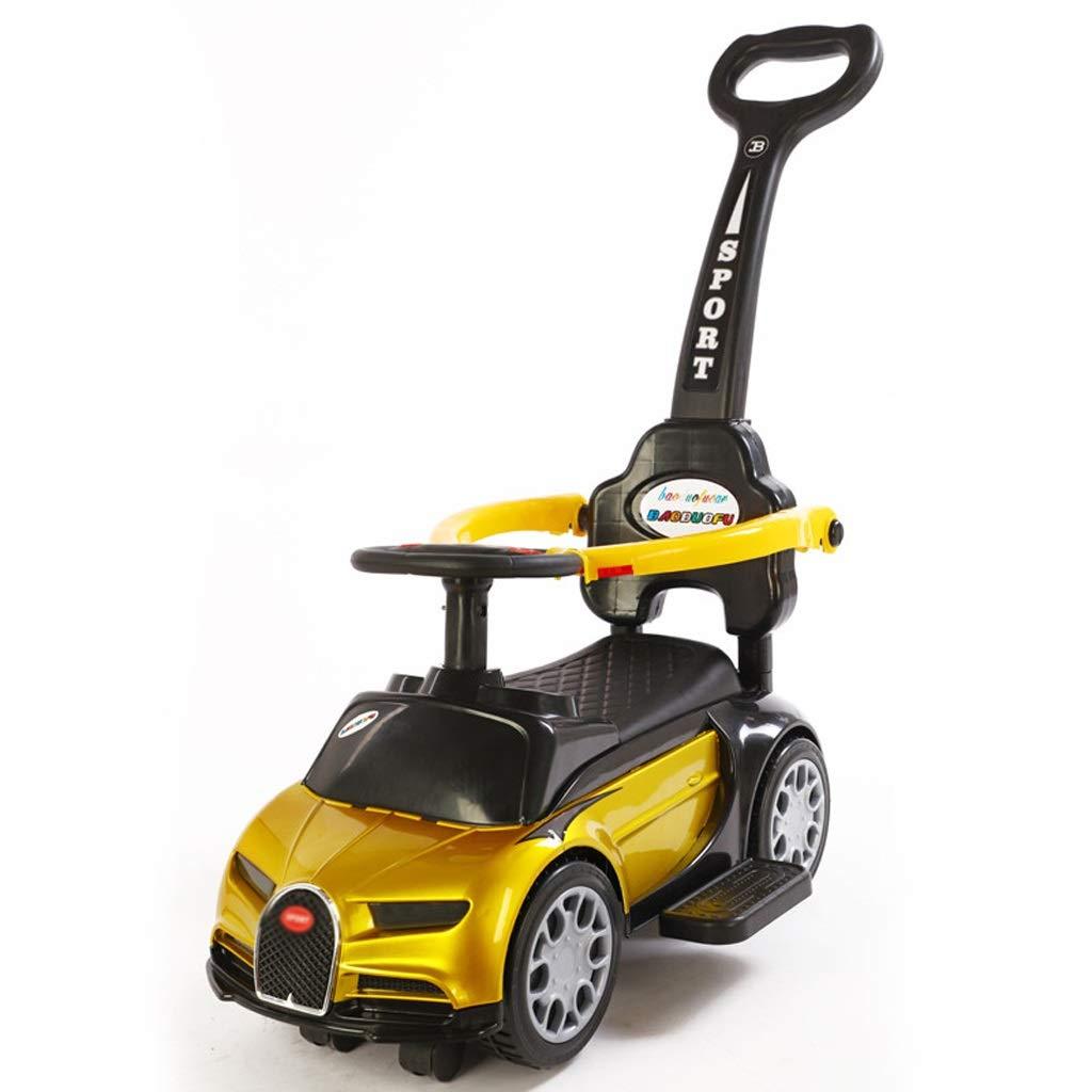 Twist car Children's Yo Car 2-3 Years Old Baby Slide Balance Four-Wheeled Yo Car Kids Slide Walker FANJIANI (Color : Paint Yellow, Size : B)