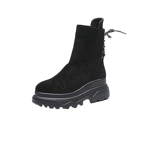 Mujer Zapatos Botines Con De Gruesos Tacón Medio Yuch Cordones aHR14x