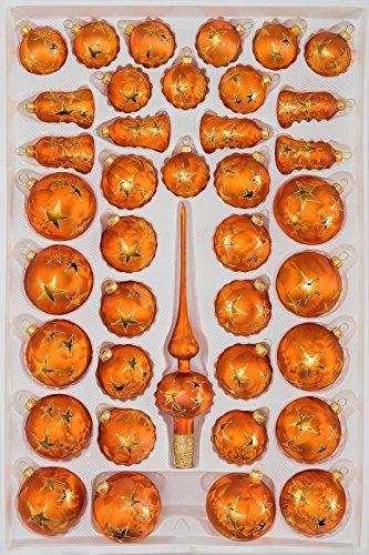 Amazon De 39 Tlg Glas Weihnachtskugeln Set In Ice Orange Gold