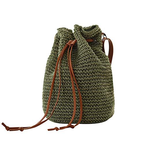 Drawstring Shopper Bag - Abuyall Women Straw Crossbody Shoulder Bag Drawstring Bucket Summer Beach Bag D