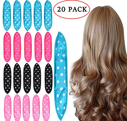 Foam Hair Curlers, Pillow Cloth Hair Rollers,No Heat Sleeping Soft Sponge Rollers for Long, Short, Thick & Thin Hair Spiral Curls Hair Free Headband (4colors) (Best Hair Rollers No Heat)