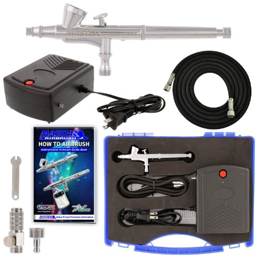 Master Airbrush Airbrushing System Kit with a G34 Multi-Purpose Gravity Feed Dual-Action Airbrush with 1/16oz. Cup and 0.3mm Tip, Mini Air Compressor, Hose, Storage Case, How-To-Airbrush Guide (Best Master Airbrush 12v Compressors)