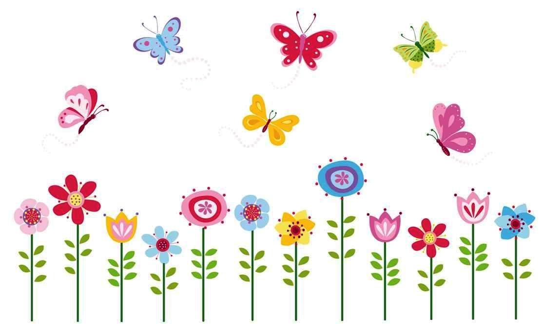 Bright Butterfly Garden Decorative Peel & Stick Wall Art Sticker Decals by CherryCreek Decals