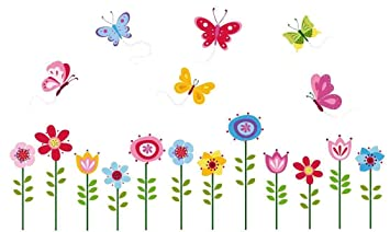 Ordinaire Bright Butterfly Garden Decorative Peel U0026 Stick Wall Art Sticker Decals