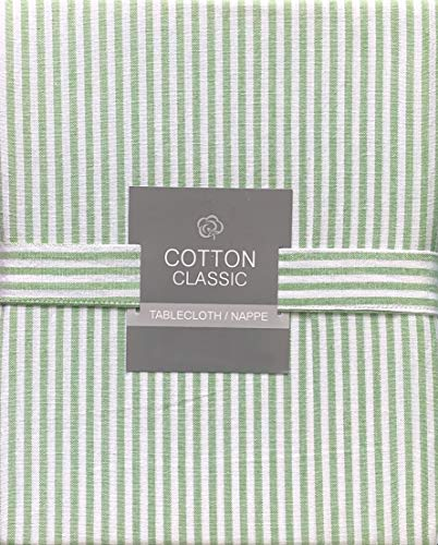 Cotton Classic Tablecloth Narrow Green and White Stripes Pattern - 60 Inches x 102 Inches ()