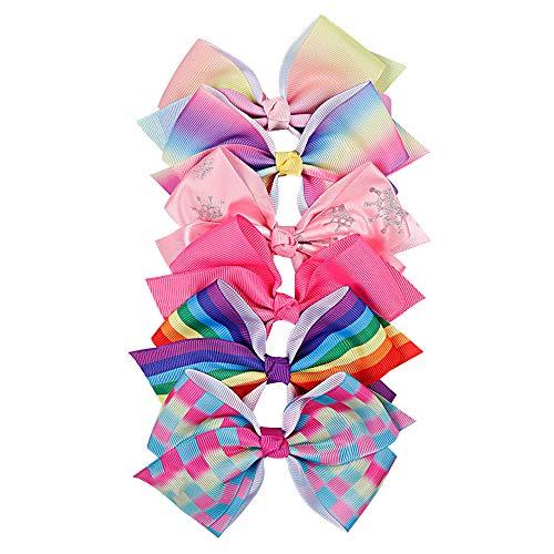 (CN Grosgrain Rainbow Hair Bows Printed Hair Accessories Mini Boutique With Alligator Clips For Girls Kids Children)
