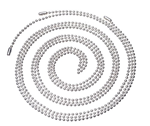 AlphaAcc Pack of 50 Stainless Steel 30 Inch Military Ball Chain Necklace