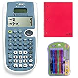 Texas Instrument TI-30XS Calculator Bundled With College Ruled One Subject Notebook and 6 Pack of Mechanical Pencils