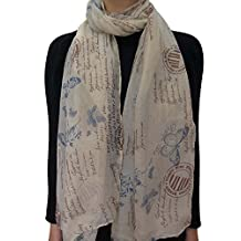 Lina & Lily Postcard Inspired Stamp Letter Print Women's Scarf Shawl Lightweight