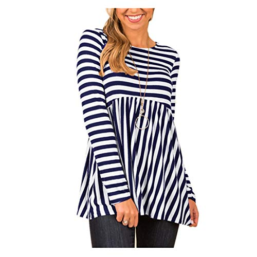 Zip 1/4 Jacket Reversible (Womens Tops Clearance WEUIE Women Casual Sriped Printing Long Sleeve Shirt Tunic Button Down Tops (S, Navy))