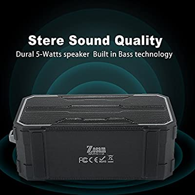 Zosam Portable Bluetooth V4.2 Wireless Speaker, HiFi 10W Driver IPX6 Waterproof Outdoor Stereo Speaker with Built-in Mic and AUX/SD Input for Home, Shower, Beach, Party, Travel