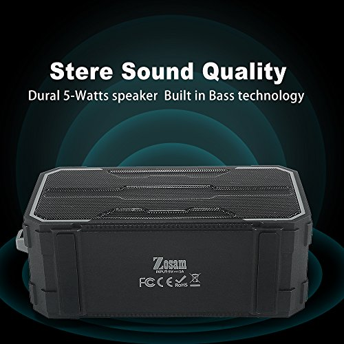 Zosam Portable Bluetooth V4.2 Wireless Speaker, HiFi 10W Driver IPX6 Waterproof Outdoor Stereo Speaker with Built-in Mic and AUX/SD Input for Home, Shower, Beach, Party, Travel (Black) by Zosam (Image #1)