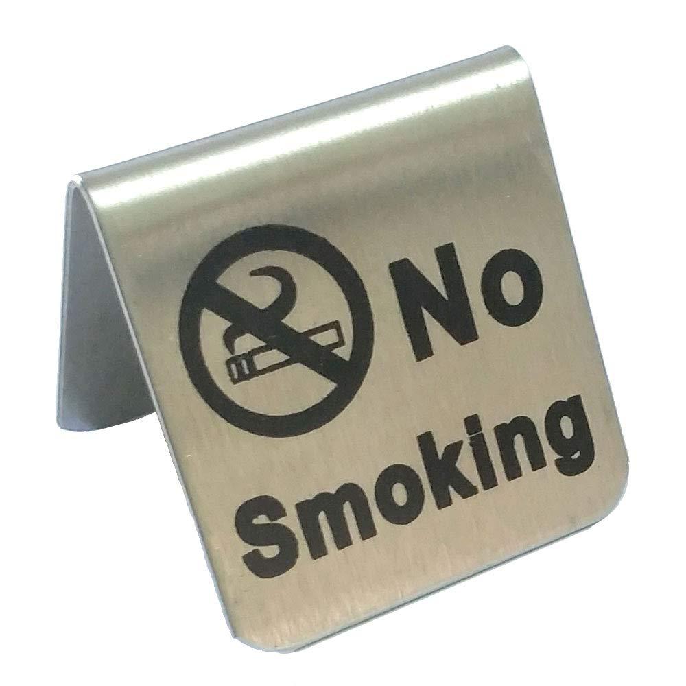2 pcs en acier inoxydable de fumer Tente carte NE pas fumé e Table de restaurant Hô tel Non-smoking Desk Logo Indicateur (Petite taille) Lizipai