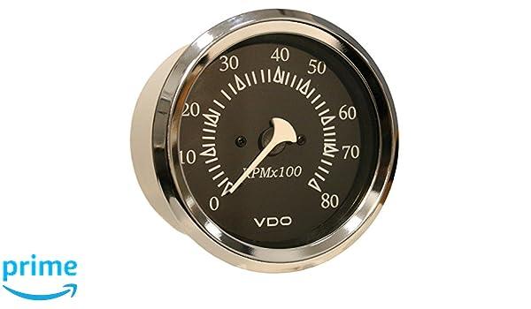 """VDO Allentare White 6000RPM 3-3//8/"""" 85mm Sterndrive Tachometer 12V"""