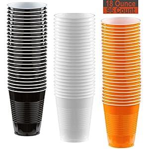 18 oz Party Cups, 96 Count - Black, White, Pumpkin Orange - 32 Each Color