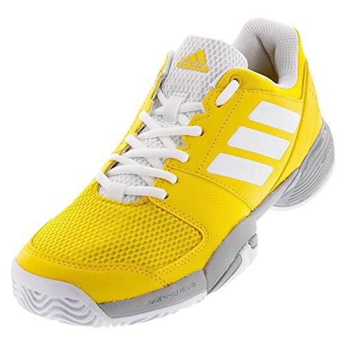 Adidas Tennis Heels - adidas Boys' Barricade Club Xj Tennis Shoe, Equipment Yellow/White/Grey Two, 2.5 Medium US Big Kid