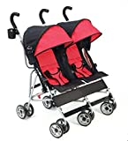 Best Baby Strollers Tandem DOUBLE Side by Side For Lightweight Use (23.8 Pounds) With Infants - Toddlers And Kids - JPMA Certified - Scarlet Red Color