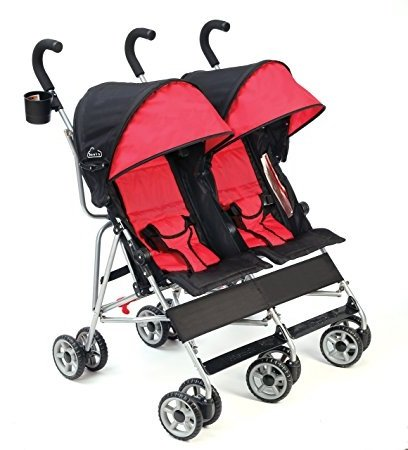 Best Baby Strollers Tandem DOUBLE Side by Side For Lightweight Use (23.8 Pounds) With Infants, Toddlers And Kids, JPMA Certified, Scarlet Red Color