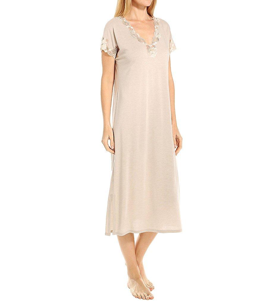 Natori Women's Zen Floral Short Sleeve Nightgown, Heather Cashmere, Medium