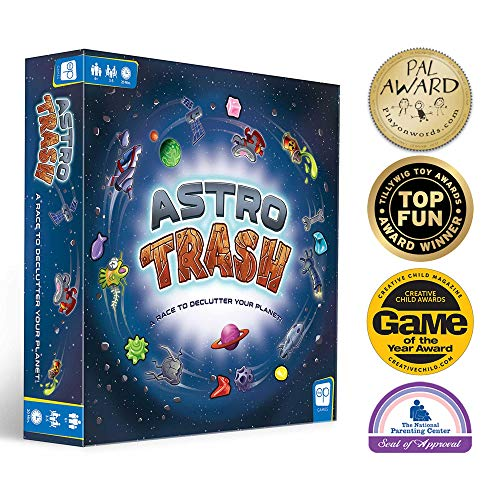 USAOPOLY Astro Trash Family Board Game | Fast Paced Family Dice Board Game | Be The First to Rid Your Planets of Cosmic Trash in This Fast Paced Family Fun Board Game to Win!