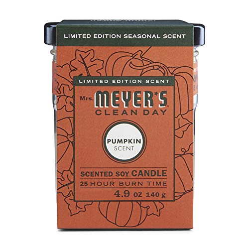 Mrs. Meyers Clean Day Scented Soy Candle Small Glass,Pumpkin, 4.9 Ounce