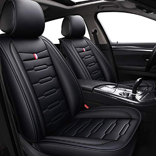 Skysep Cartoon Full Set Universal Fit 5 Seats Car Surrounded Waterproof Leather Car Seat Covers Protector Adjustable Removable Auto Seat Cushions (Black) (Best Luxury Suv For 3 Car Seats)