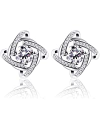 Silver Earrings Studs for women Cubic Zirconia Gemini Earring set