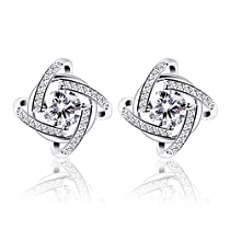 B.Catcher Stud Earrings Windmill Shape Cubic Zirconia 925 Sterling Silver Earrings