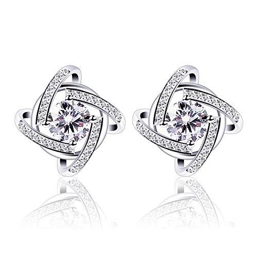 B.Catcher Silver Earrings Studs for women Cubic Zirconia Gemini Earring set by B.Catcher