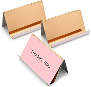 Sooez Metal Business Card Holders Stand for Desk, 3 Pack Office Stainless Steel Business Card Table Top Display Stand Name Card Holder Desktop Collection Rack Organizer, Mirror Rose Gold