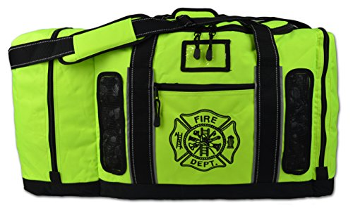 Newly Redesigned Lightning X Firefighter Fireman Quad-vent Turnout Gear Bag w/ Helmet Compartment, Mesh Vents & Maltese Cross for First Responder (Fluorescent Yellow) (Firefighters Accessories)