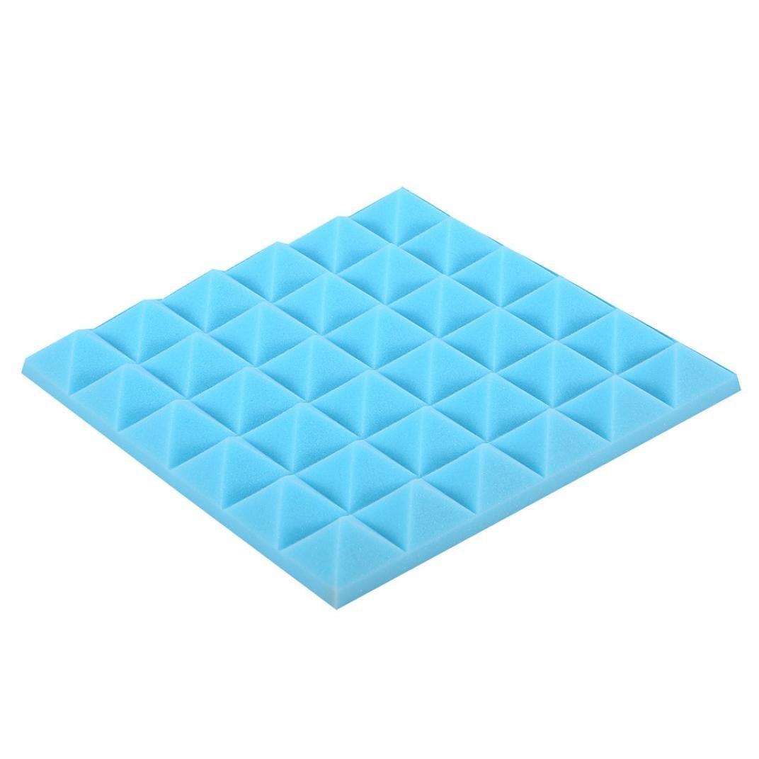 Hmlai Soundproof Foam, Acoustic Foam Panel Sound Stop Absorption Sponge Studio KTV Soundproof Wall Sticker,30x30x5cm (Blue)