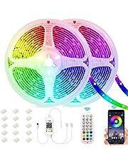 Sunovo Ledstrip, 5050 RGB bluetooth-ledstrip, besturing via app van de smartphone, zelfklevende band, met IR-afstandsbediening, voor feest, decoratie, huis, slaapkamer, bar