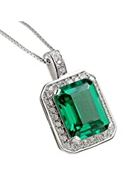 "Newshe 3.1CT Green Created Emerald Sapphire 925 Solid Sterling Silver Pendant Necklace 18"" Chain"