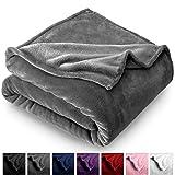 Bare Home Microplush Velvet Fleece Blanket - Full/Queen - Ultra-Soft - Luxurious Fuzzy Fleece Fur - Cozy Lightweight - Easy Care - All Season Premium Bed Blanket (Full/Queen, Grey)