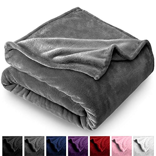 Bare Home Microplush Velvet Fleece Blanket - Full/Queen - Ultra-Soft - Luxurious Fuzzy Fleece Fur - Cozy Lightweight - Easy Care - All Season Premium Bed Blanket (Full/Queen, Grey)