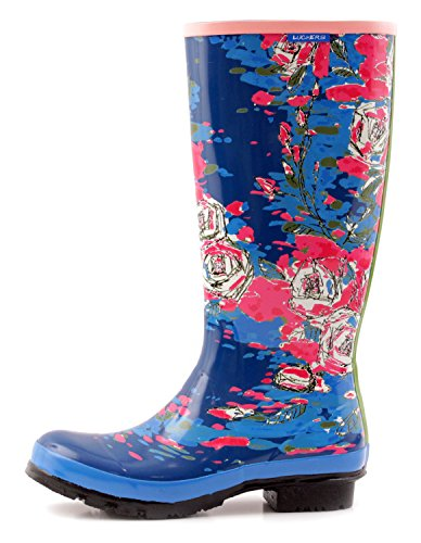 Luckers Womens Tall Winter Flowers Wellies Regenlaarzen Paint Brush Blue