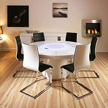 d0668b69995b Avant Garde Large Round White Gloss Dining Table   6 White Black Dining  Chairs  Amazon.co.uk  Kitchen   Home
