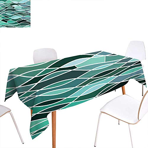 """familytaste Seafoam Dinning Tabletop Decoration Stained Glass Pattern with Wavy Lines and Mosaic Abstract Geometric Composition Table Cover for Kitchen 50""""x80"""" Multicolor"""