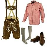Bavarian Oktoberfest Trachten Lederhosen Above knee shorts shirt shoe and socks (32, Light brown)