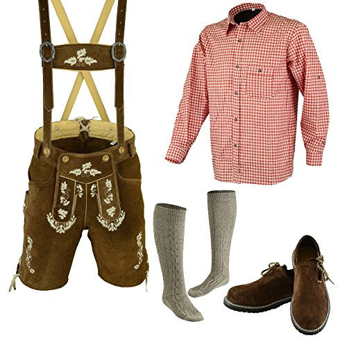 Bavarian Oktoberfest Trachten Lederhosen Above Knee Shorts Shirt Shoe and Socks (38, Light Brown)
