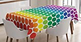 Ambesonne Polka Dots Home Decor Tablecloth, Illustration of Bright Rainbow Colored Dots Big Circles Spots Playroom Kids Theme, Dining Room Kitchen Rectangular Table Cover, 52 X 70 inches, Multi