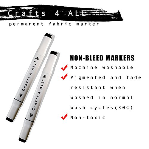Crafts 4 All Permanent Fabric Laundry Marker, Non Bleed, Dual Tip, Black, 2...