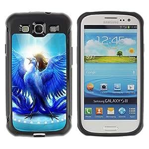 Hybrid Anti-Shock Defend Case for Samsung Galaxy S3 / Glorious Blue Bird