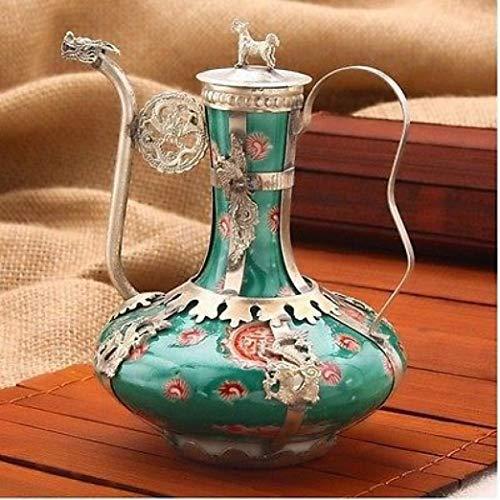 - YOTATO Ancient Exquisite Antique Tibet Silver Green Porcelain Good Health Word Teapot Decoration Tibetan Word Bronze